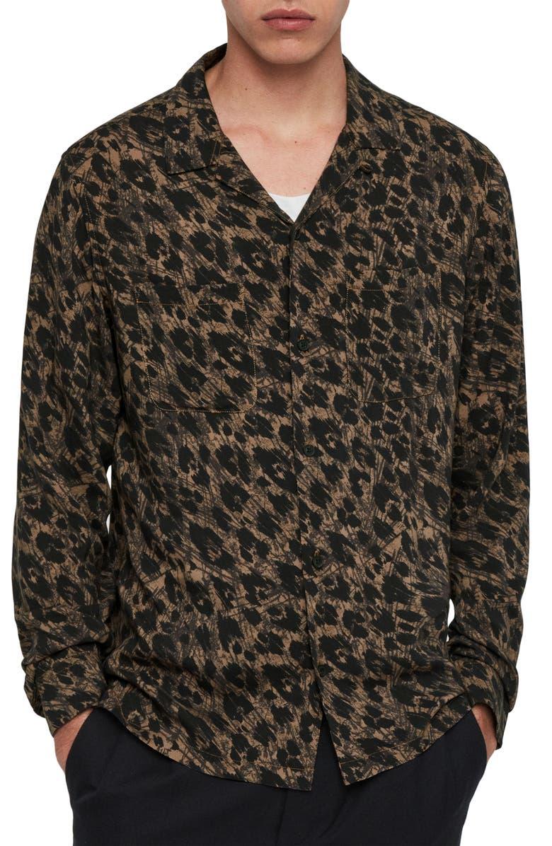 ALLSAINTS Monteray Slim Fit Button-Up Shirt, Main, color, BROWN/ GREY/ BLACK