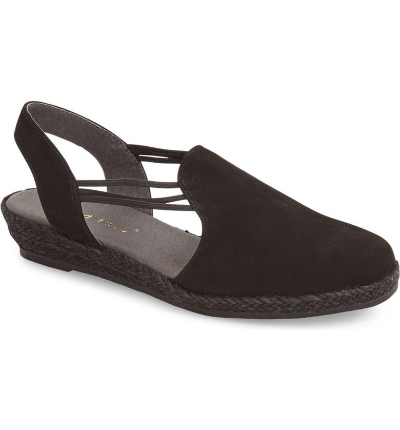DAVID TATE 'Nelly' Slingback Wedge Sandal, Main, color, BLACK NUBUCK