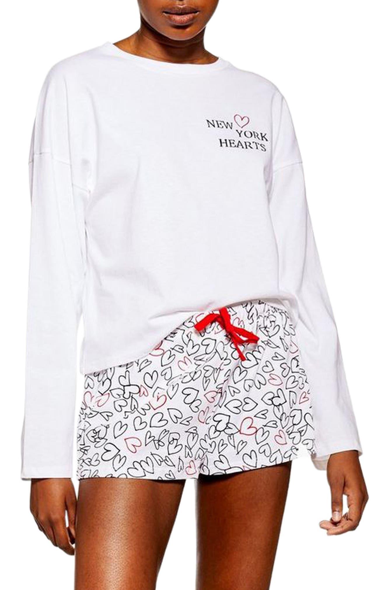 New York Hearts Short Pajamas, Main, color, WHITE MULTI