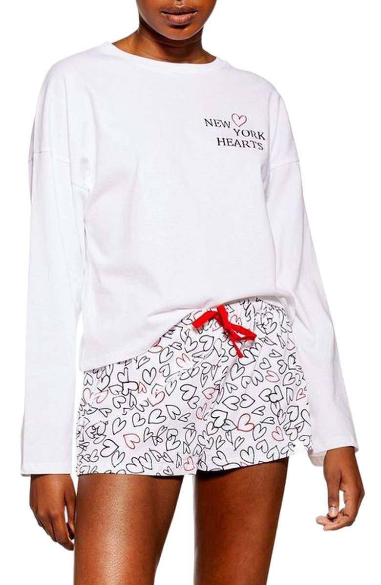 TOPSHOP New York Hearts Short Pajamas, Main, color, 100