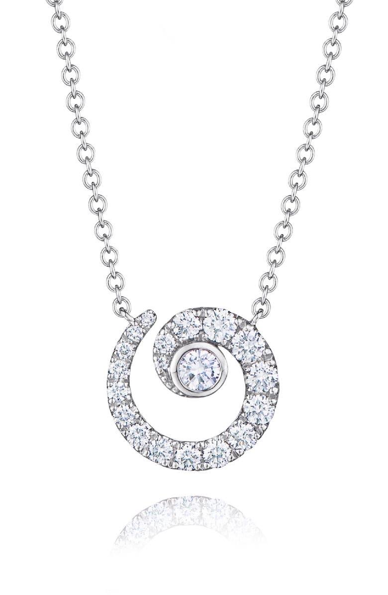 KWIAT Diamond Coil Pendant Necklace, Main, color, WHITE GOLD