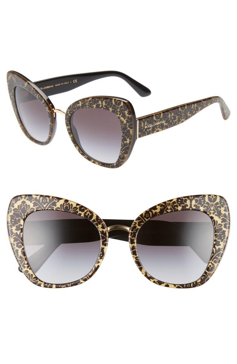 DOLCE&GABBANA 51mm Gradient Cat Eye Sunglasses, Main, color, BROWN TORTOISE