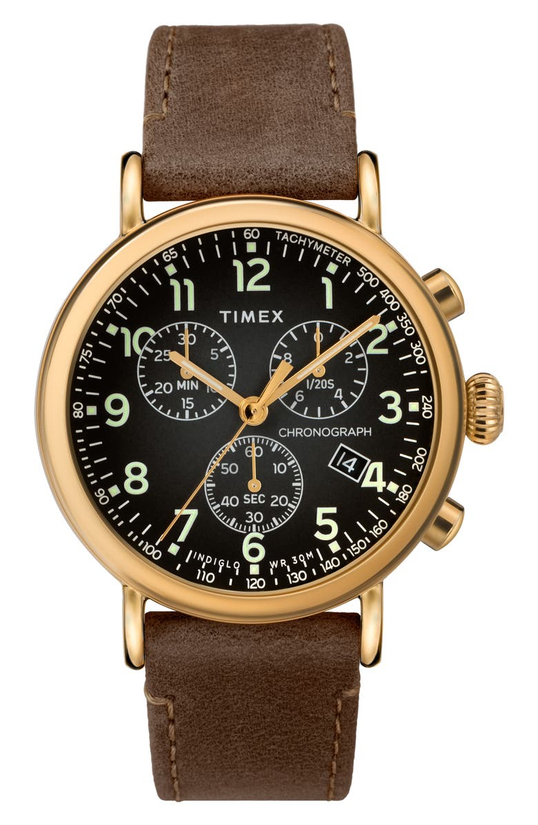 TIMEX<SUP>®</SUP> Standard Chronograph Leather Strap Watch, 41mm, Main, color, BROWN/ GREY/ GOLD