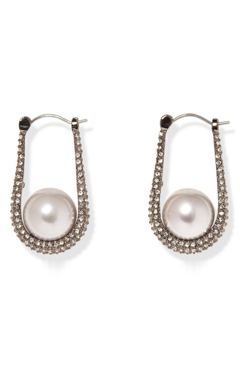 VINCE CAMUTO Small Pavé Imitation Pearl Hoop Earrings, Main, color, HEMATITE