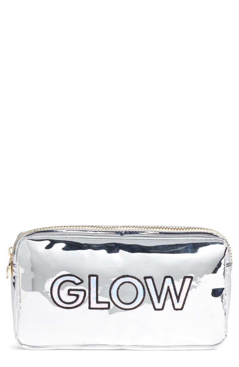 STONEY CLOVER LANE Glow Small Silver Patent Cosmetics Bag, Main, color, 040