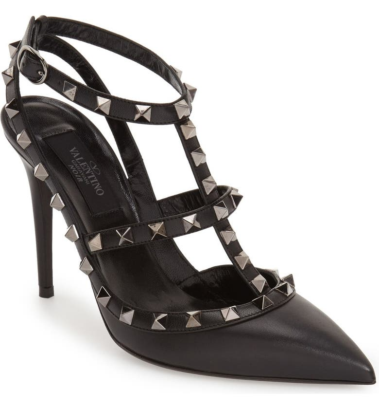 hot sale detailed look for whole family Noir Rockstud T-Strap Pump