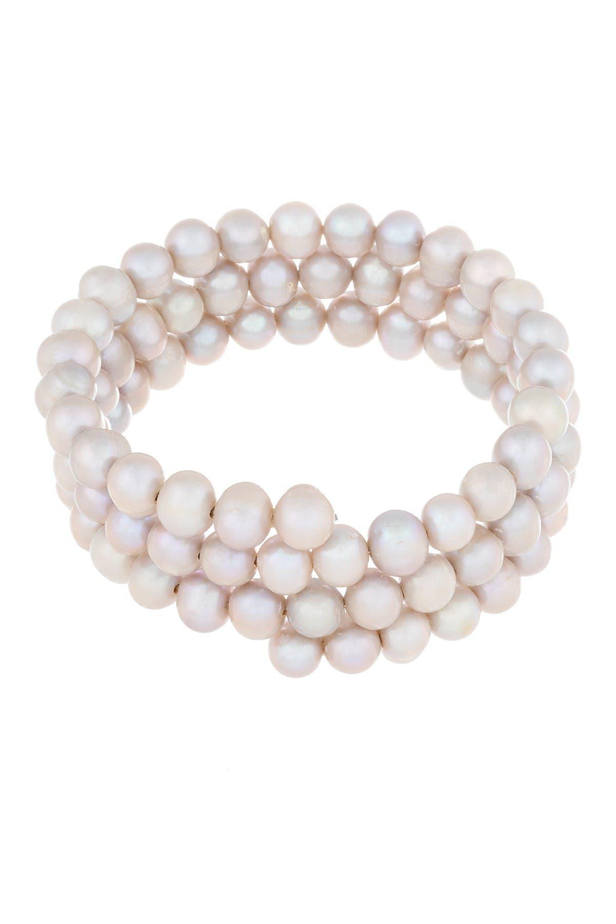 Image of Splendid Pearls 6-7mm Gray Cultured Freshwater Pearl Triple Strand Bangle Bracelet