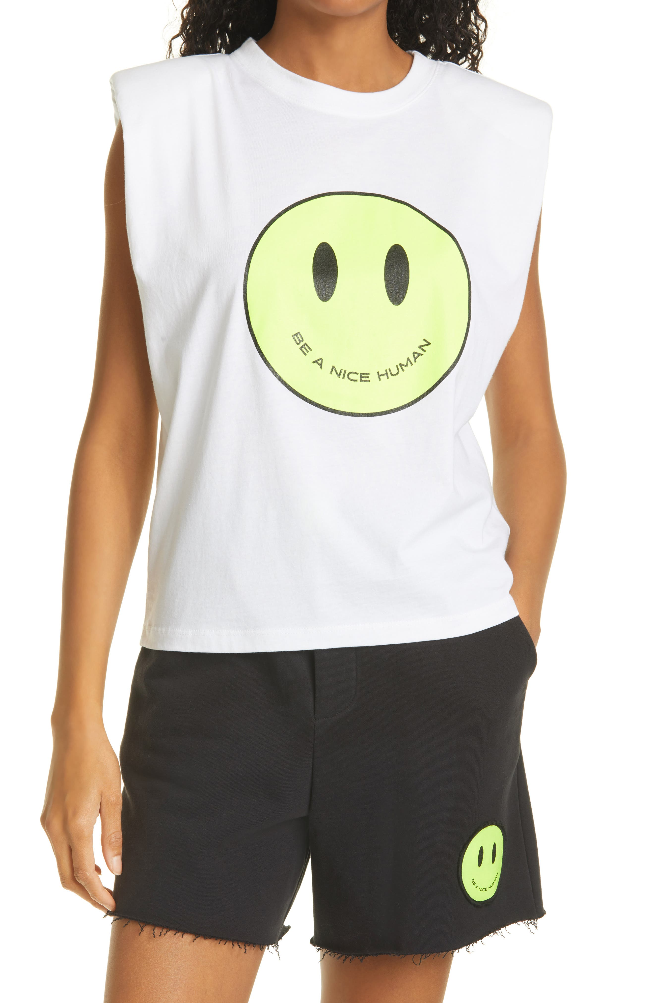 Just Be Nice Padded Shoulder Muscle Graphic Tee