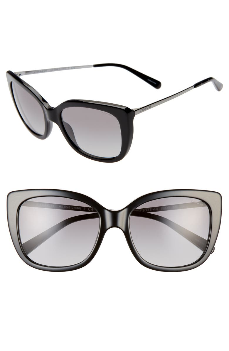 COACH 55mm Cat Eye Sunglasses, Main, color, BLACK/ BLACK GRADIENT
