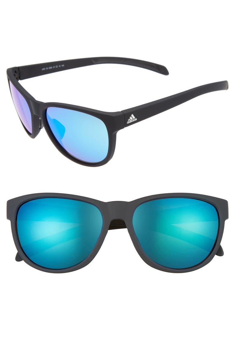 ADIDAS Wildcharge 57mm Mirrored Sunglasses, Main, color, 001
