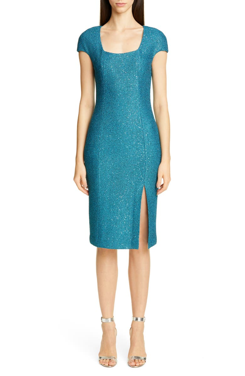 ST. JOHN COLLECTION Luxe Sequin Tuck Knit Dress, Main, color, TANZANITE MULTI