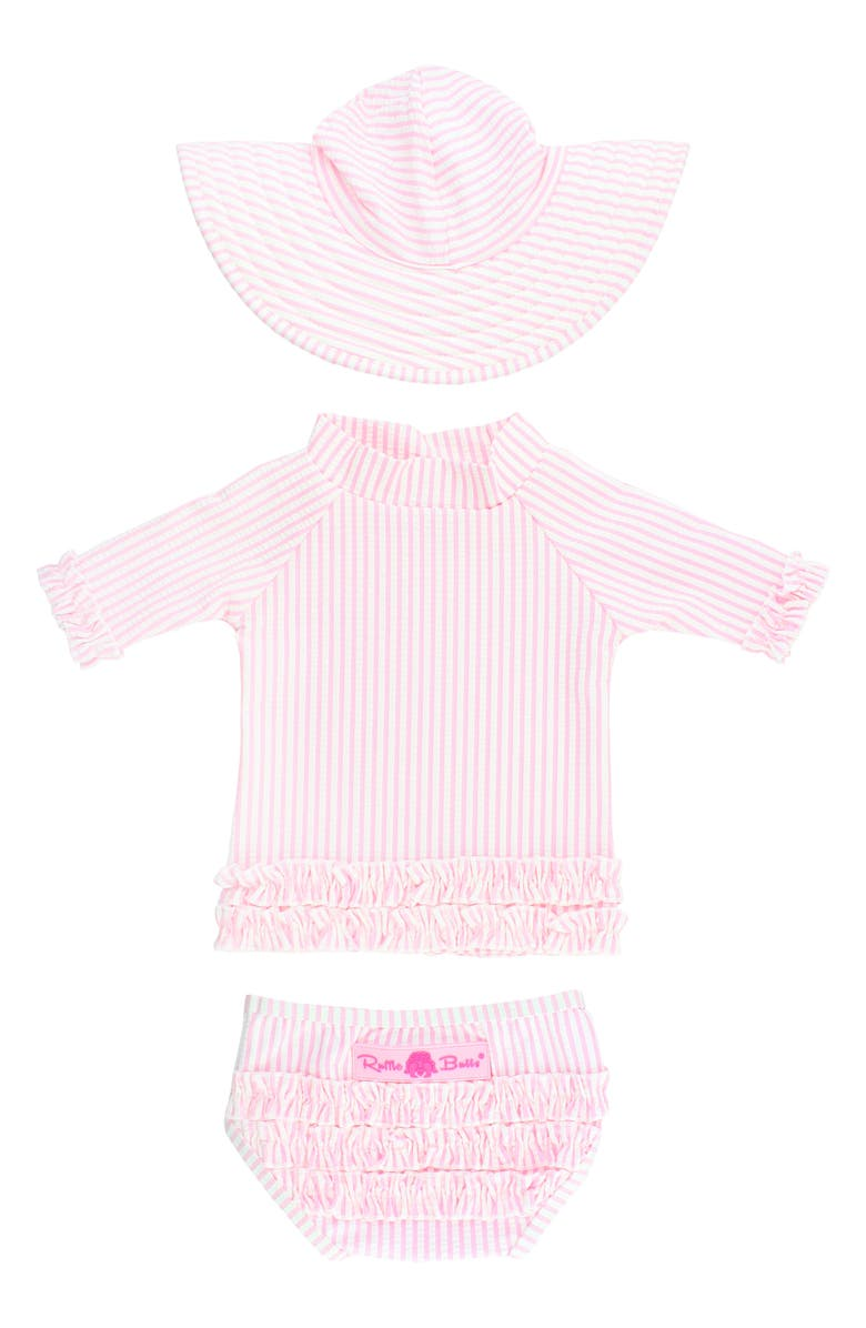 RUFFLEBUTTS Seersucker Two-Piece Rashguard Swimsuit & Hat Set, Main, color, PINK