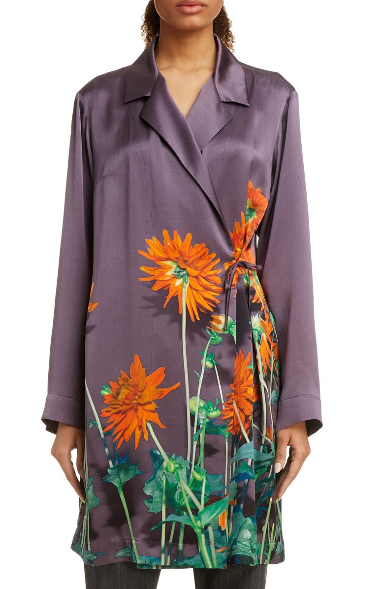 DRIES VAN NOTEN Calberta Dahlia Print Silk Robe Jacket, Main, color, PURPLE
