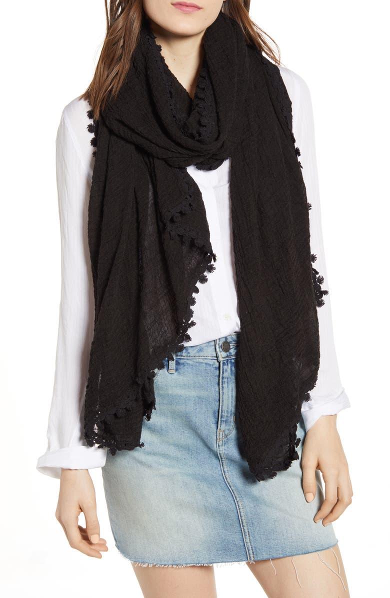 TREASURE & BOND Lace Trim Solid Wrap, Main, color, BLACK