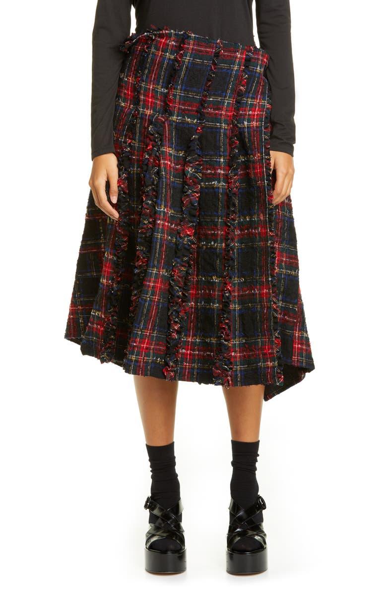 TRICOT COMME DES GARÇONS Tartan Asymmetrical Wool Skirt, Main, color, BLACK