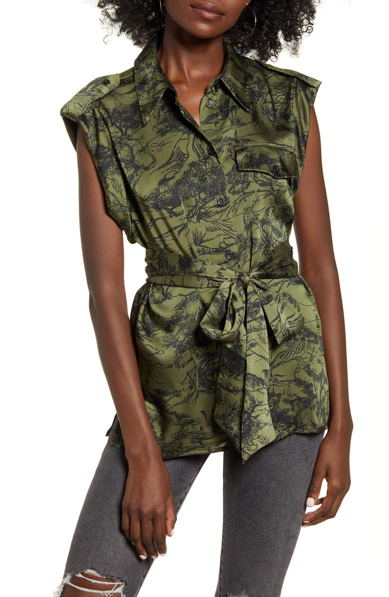 TOPSHOP Toule de Jouey Belted Sleeveless Utility Shirt, Main, color, GREEN MULTI