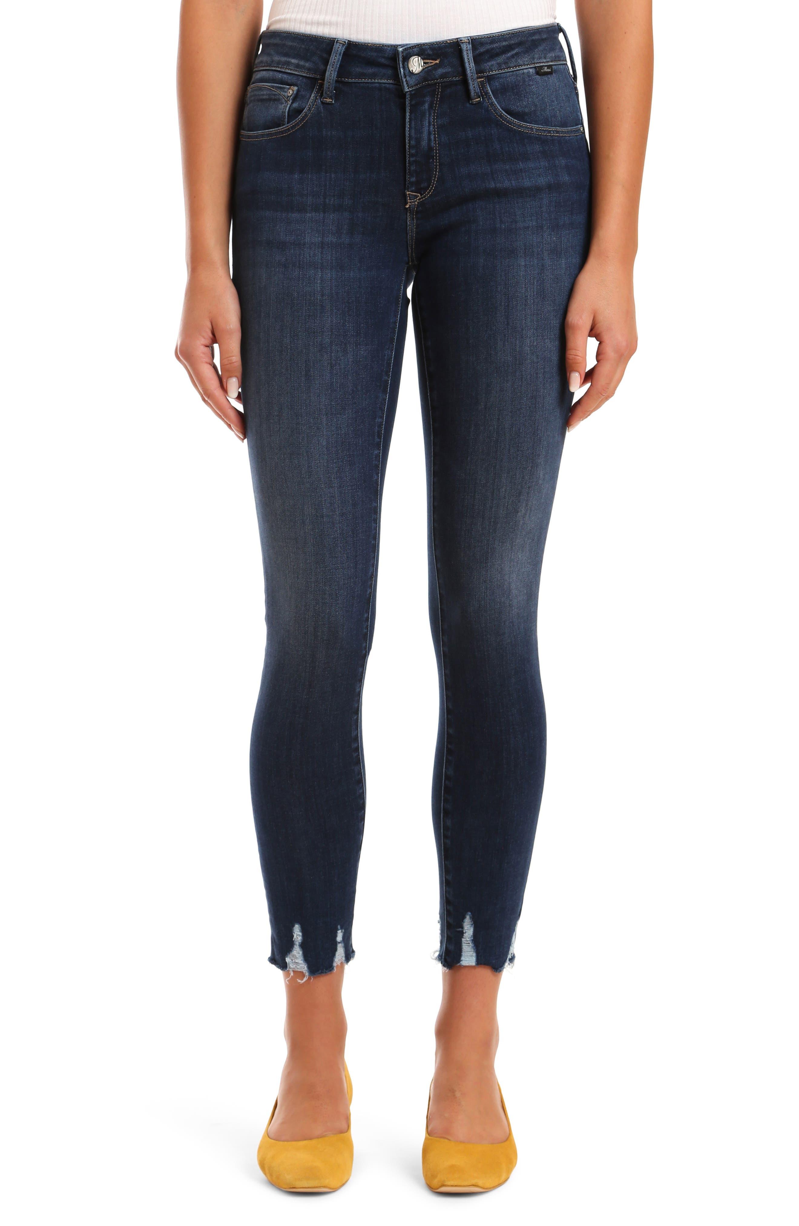 Adriana Destroyed Hem Ankle Skinny Jeans