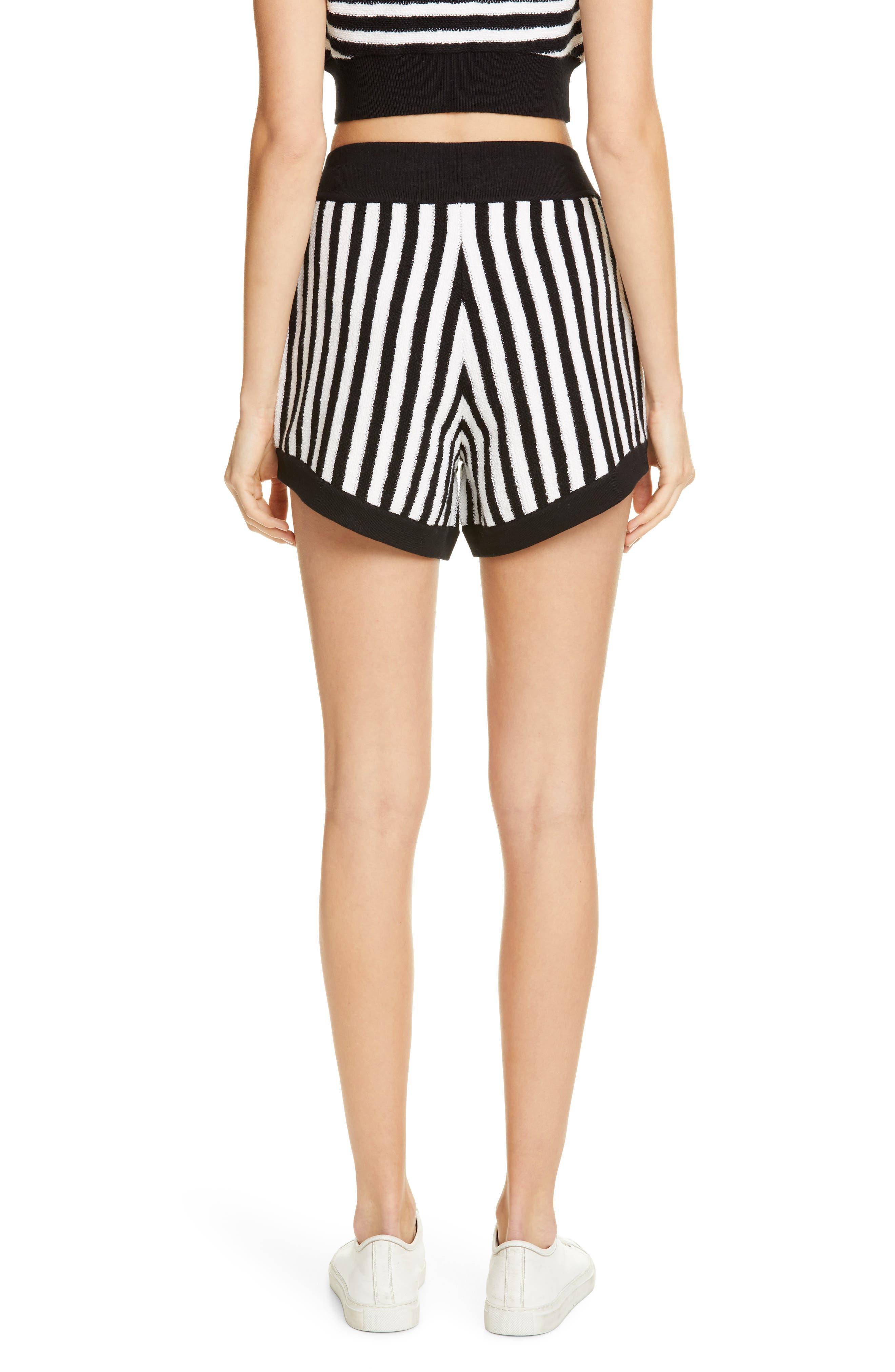 ,                             Striped Cotton & Cashmere Shorts,                             Alternate thumbnail 2, color,                             WHITE/ BLACK COMBO