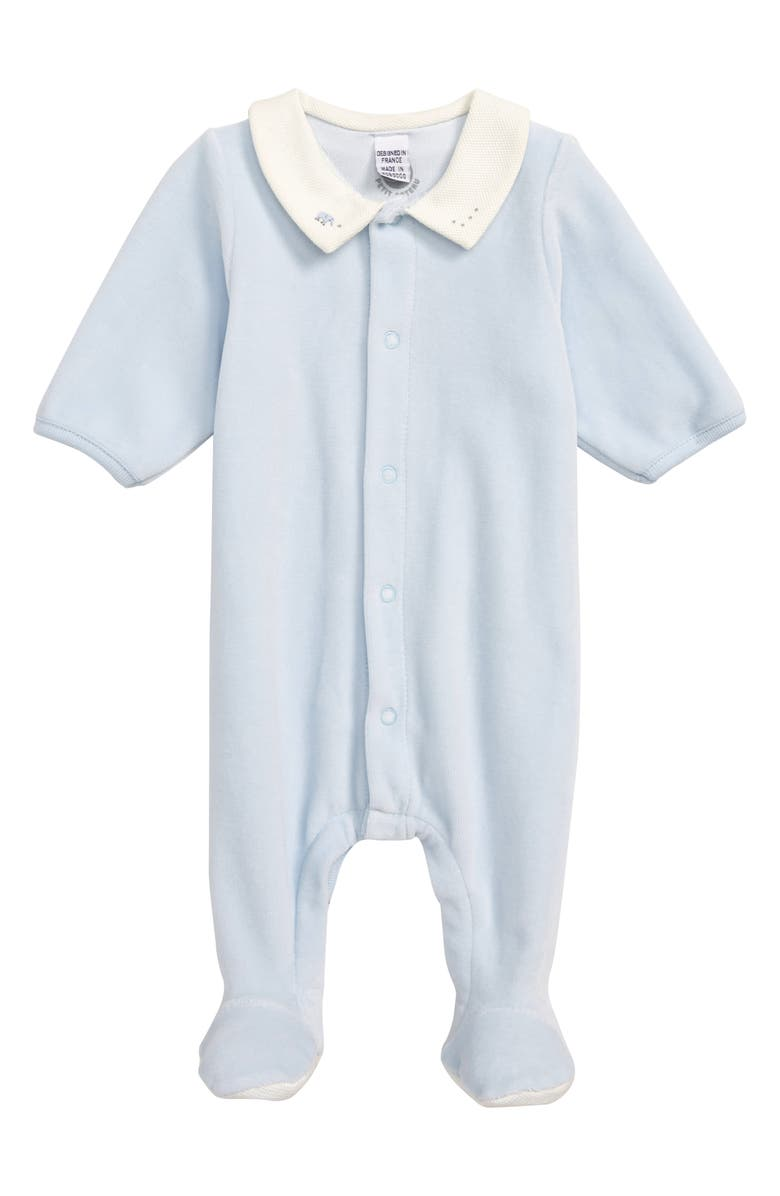PETIT BATEAU Velour Footie, Main, color, 400