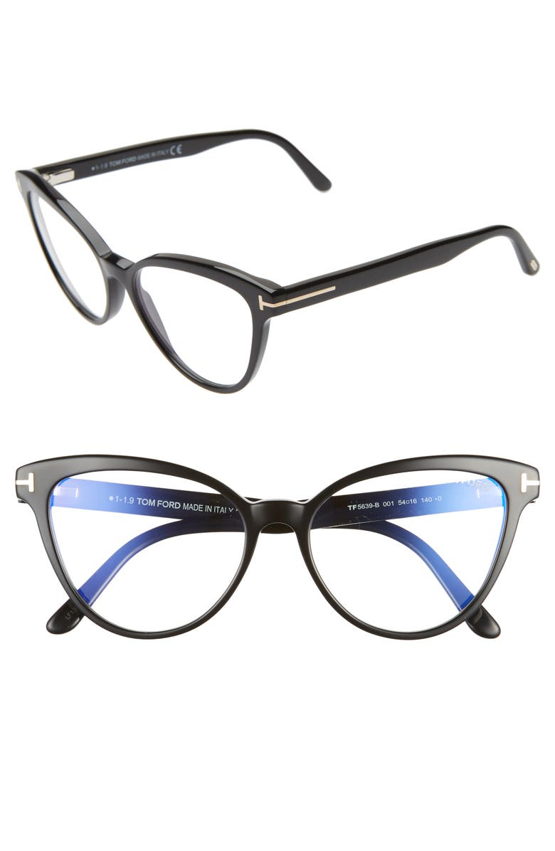 TOM FORD 54mm Blue Light Blocking Cat Eye Optical Glasses, Main, color, SHINY BLACK/ CLEAR