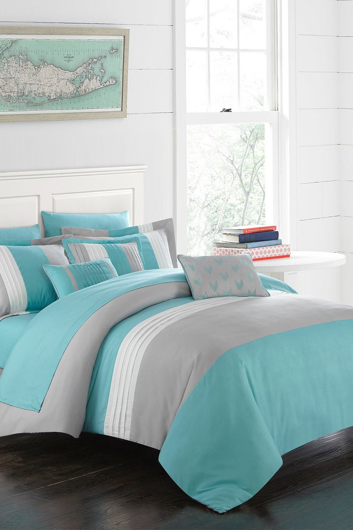 Image of Chic Home Bedding Queen Rashi Color Block Bed In a Bag Comforter Set - Turquoise