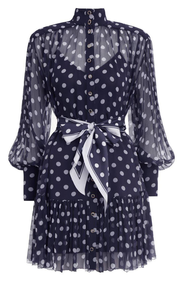 ZIMMERMANN Sabotage Lantern Long Sleeve Silk Minidress, Main, color, MIDNIGHT DOT