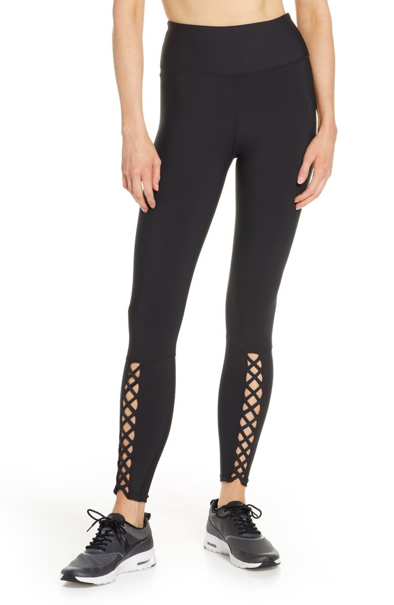 SOUL BY SOULCYCLE Lace-Up High Waist Tights, Main, color, BLACK