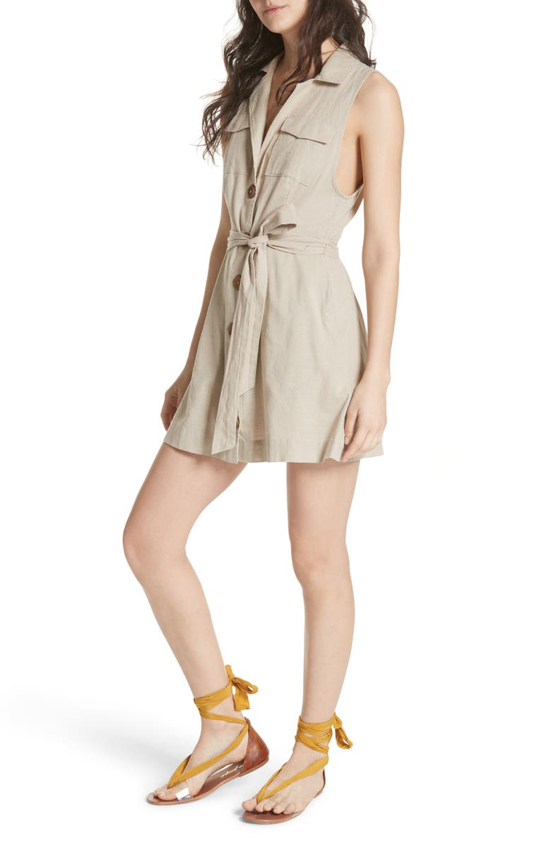 FREE PEOPLE Hepburn Safari Shirtdress, Main, color, 030