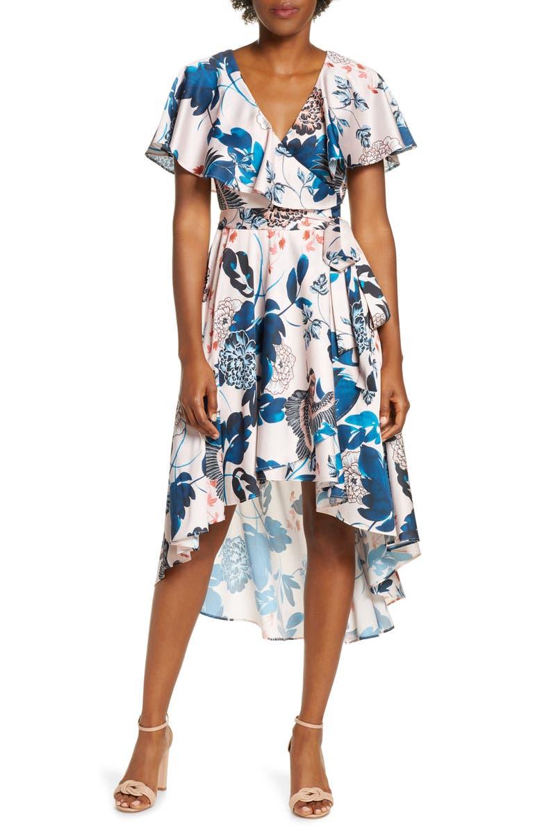 ELIZA J Floral Flutter High/Low Faux Wrap Dress, Main, color, 684
