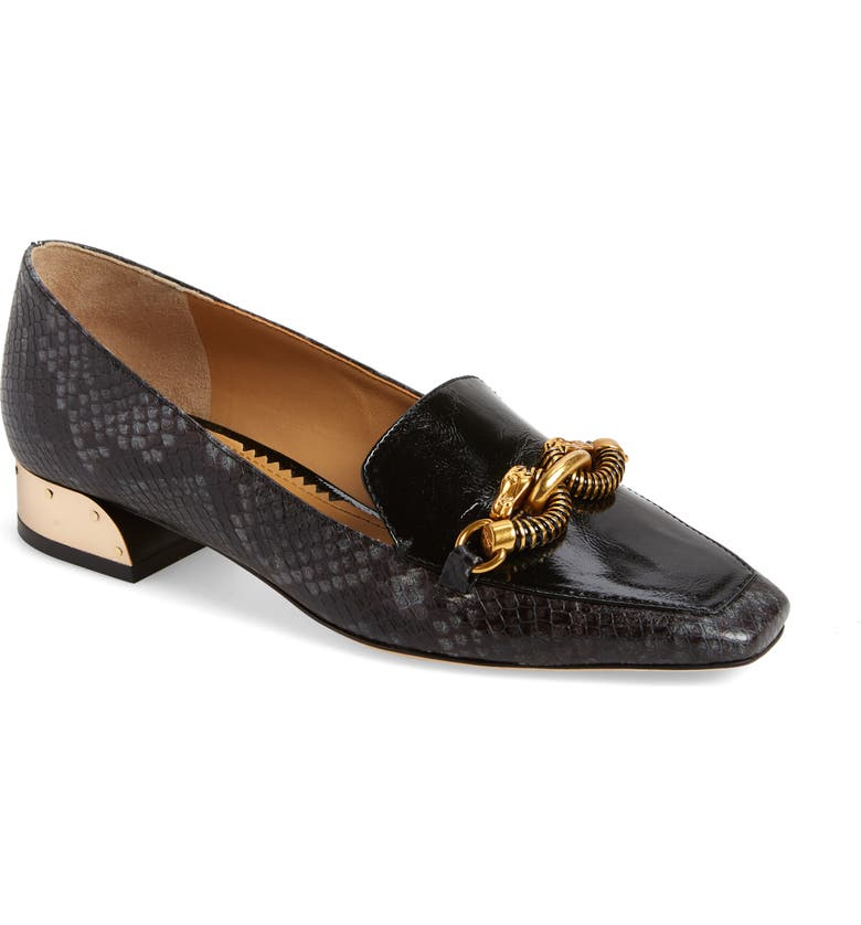 TORY BURCH Jessa Loafer, Main, color, PERFECT BLACK SNAKE PRINT