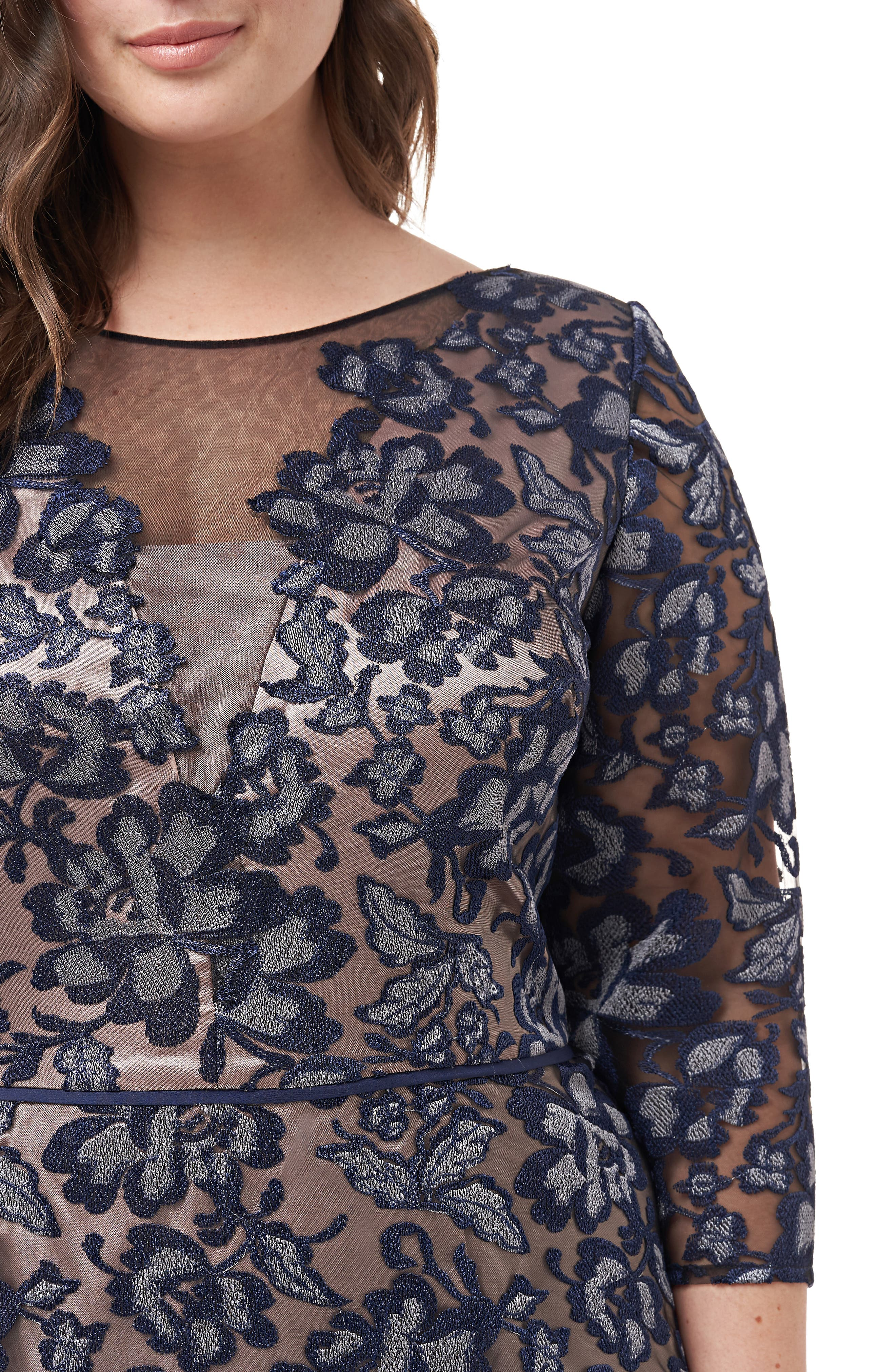 ,                             Floral Embroidered Mesh Gown,                             Alternate thumbnail 3, color,                             NAVY SILVER