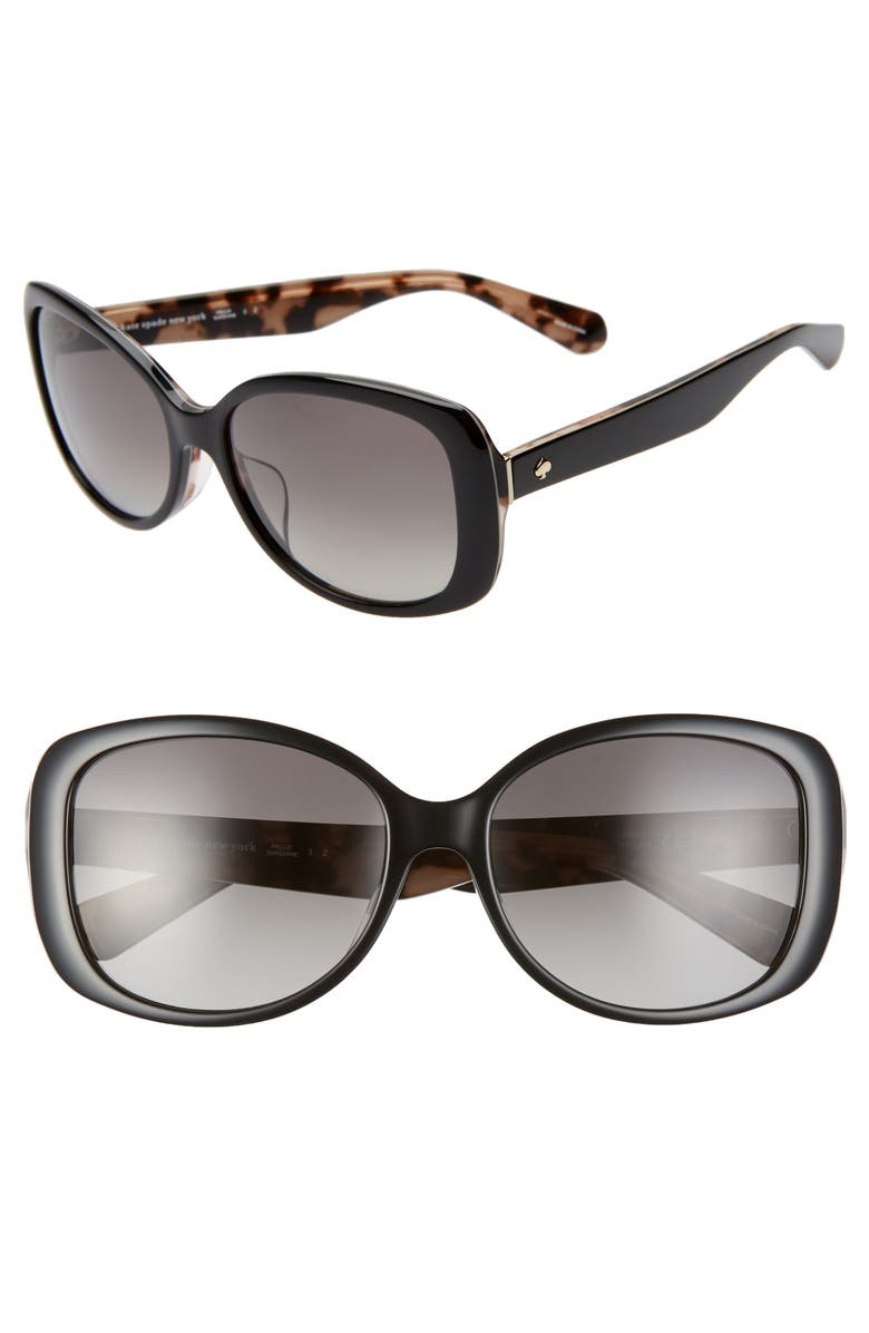 KATE SPADE NEW YORK amberlyn 57mm special fit polarized square sunglasses, Main, color, 001