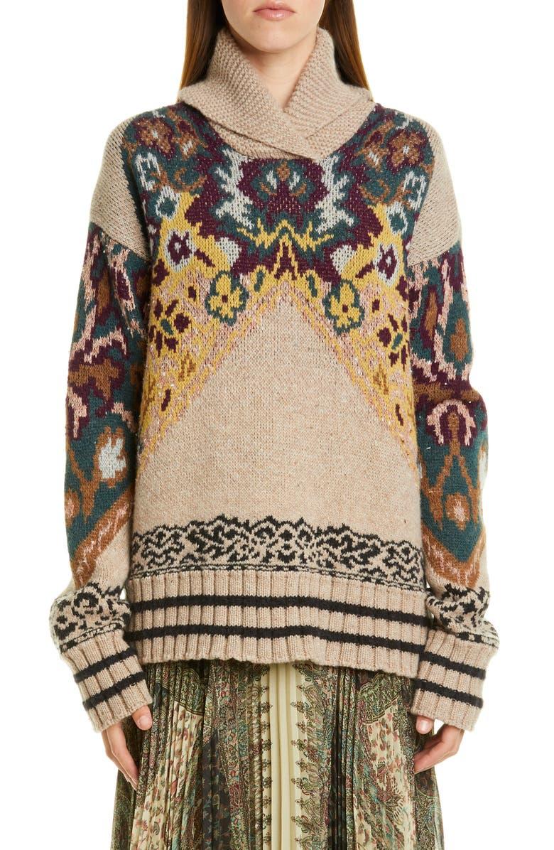 ETRO Shawl Collar Intarsia Sweater, Main, color, BEIGE