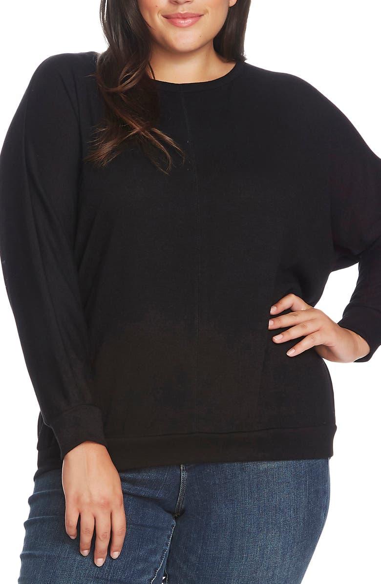 VINCE CAMUTO Dolman Sleeve Cozy Seam Top, Main, color, RICH BLACK