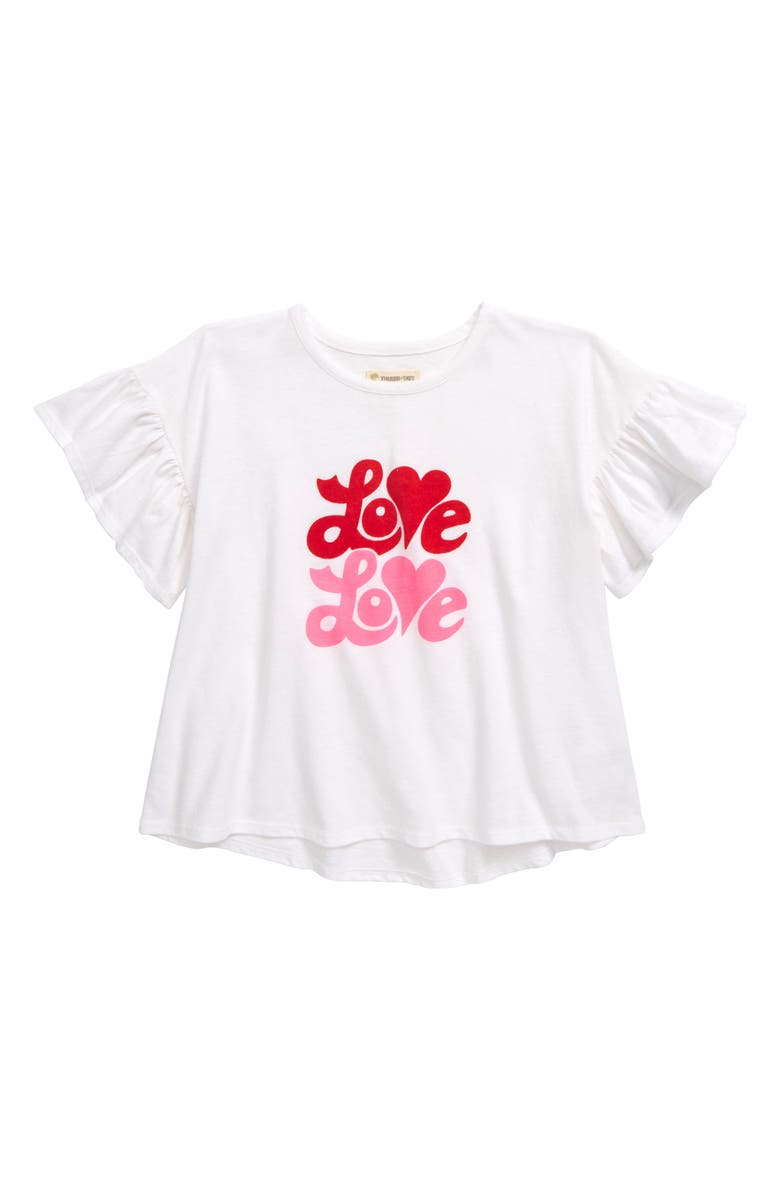 TUCKER + TATE Ruffle Sleeve T-Shirt, Main, color, WHITE- PINK LOVE LOVE
