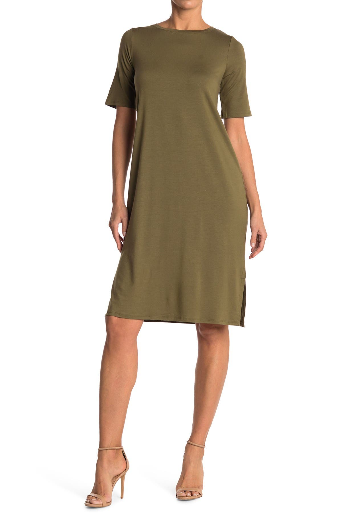 Image of Eileen Fisher Slit Hem T-Shirt Dress