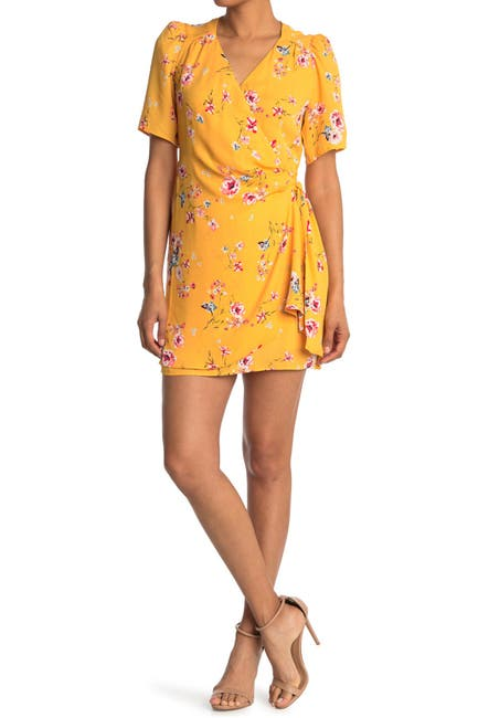 Image of Collective Concepts Short Sleeve Floral Wrap Dress