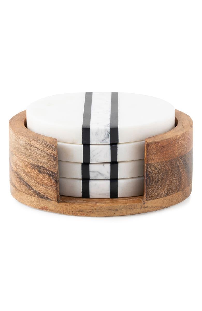 JULISKA Stonewood Stripe Set of 4 Coasters, Main, color, NATURAL