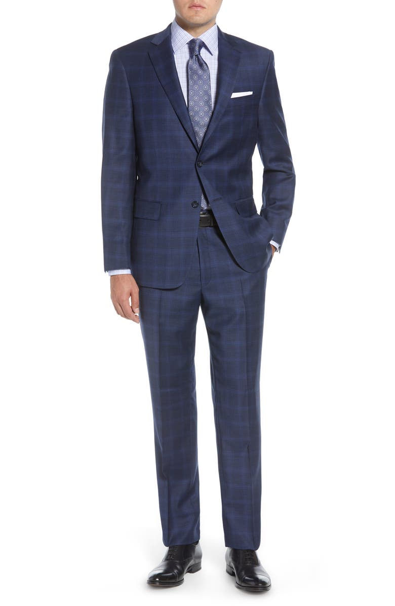 HART SCHAFFNER MARX Classic Fit Solid Wool Suit, Main, color, DARK BLUE