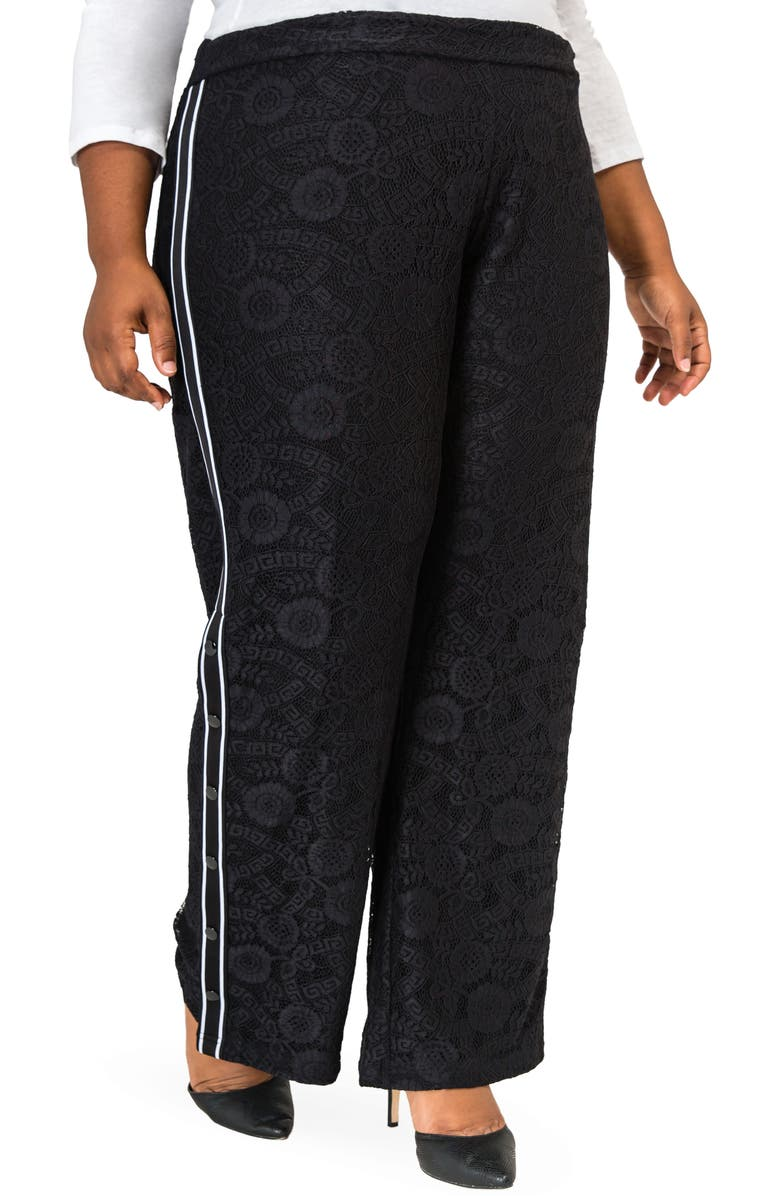POETIC JUSTICE Cornella High Rise Lace Knit Track Pants, Main, color, BLACK
