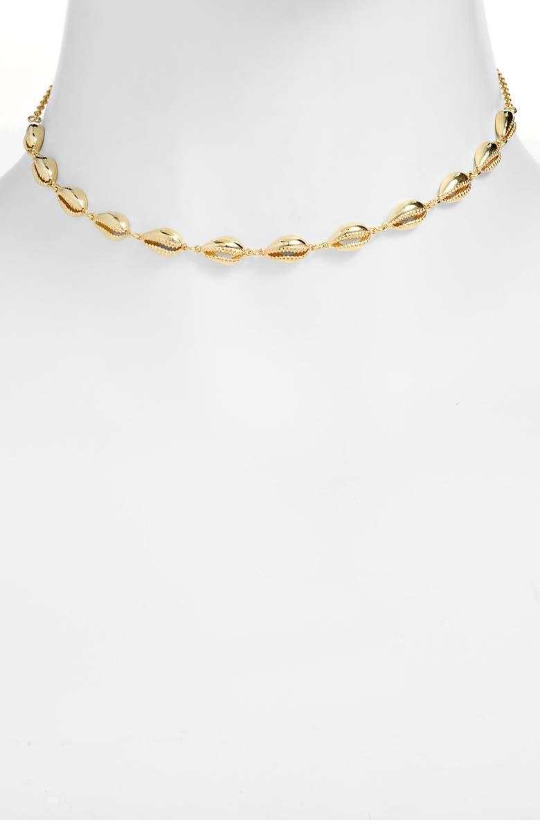 ADINA'S JEWELS Adina's Jewels Shell Choker Necklace, Main, color, GOLD
