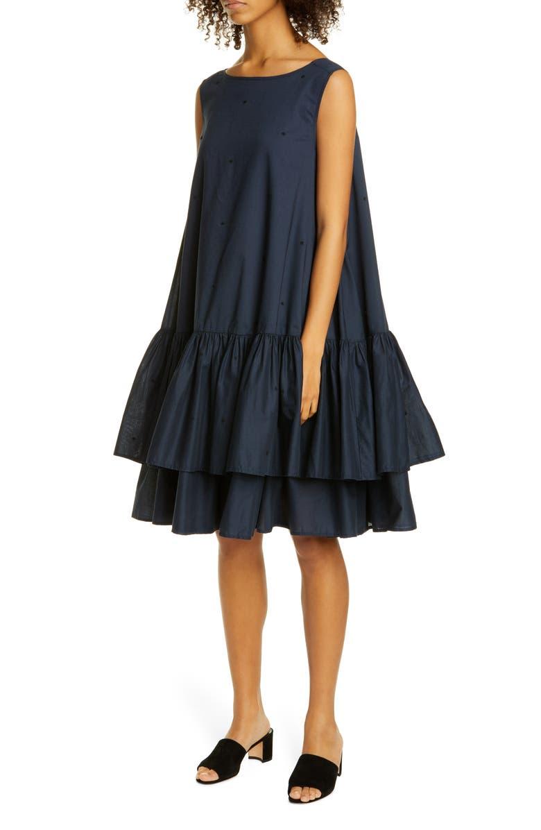 MERLETTE Cevenne Drop Waist Ruffle Dress, Main, color, NAVY/ BLACK