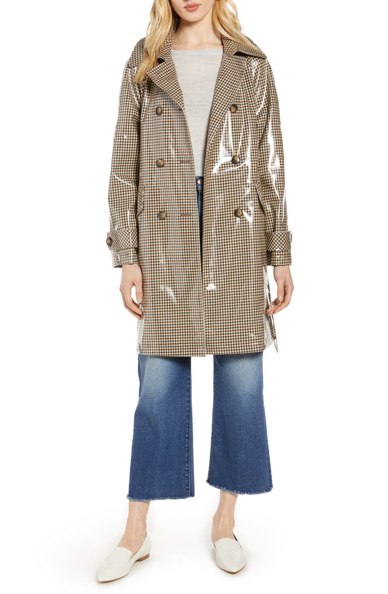 HALOGEN<SUP>®</SUP> Water Resistant Coated Plaid Trench Coat, Main, color, BROWN
