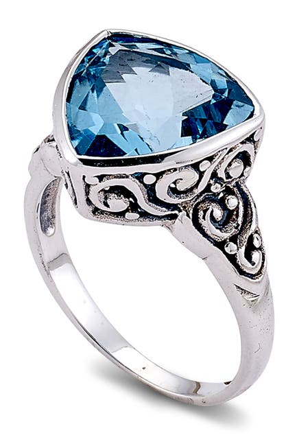Image of Samuel B Jewelry Sterling Silver Trillion Cut Blue Topaz Scroll Design Ring
