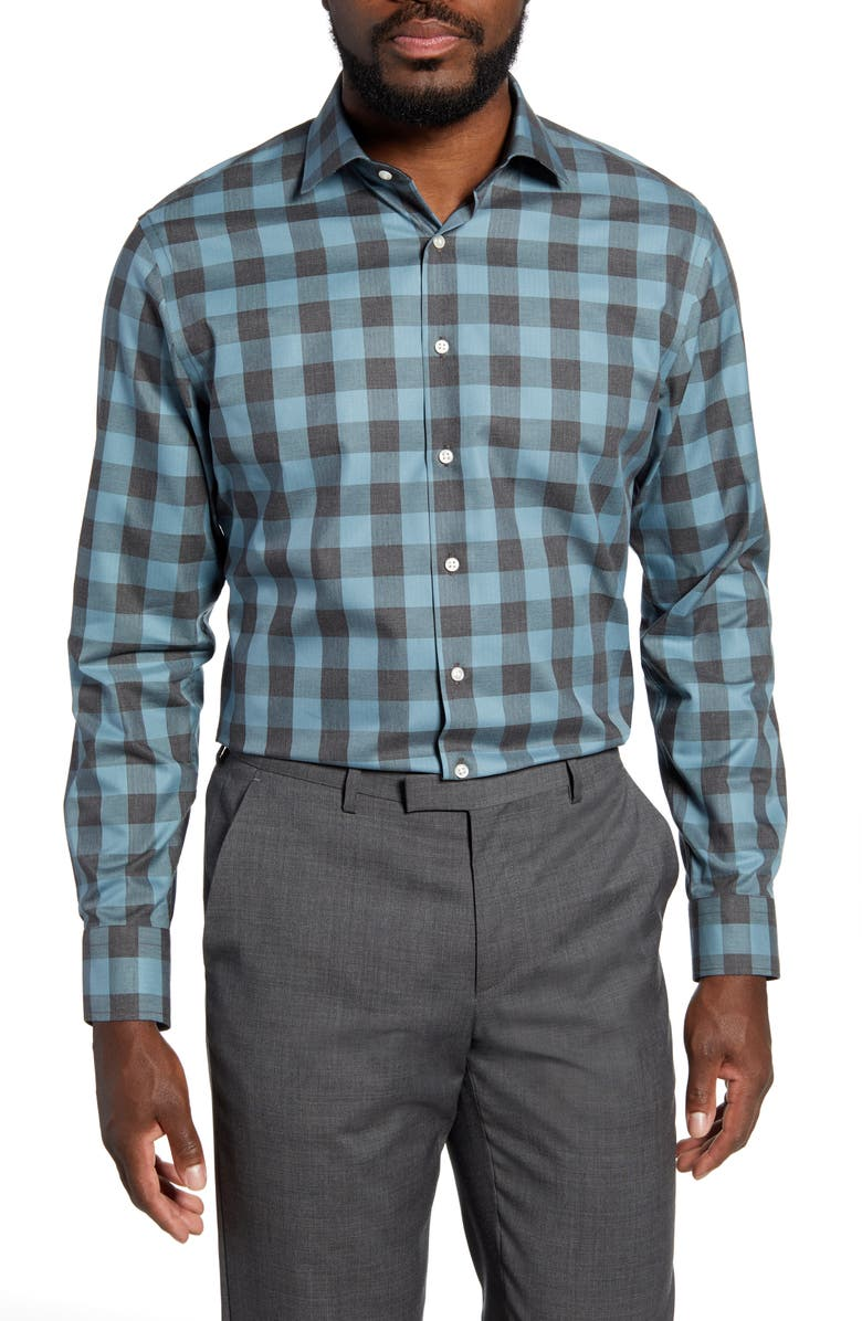 NORDSTROM MEN'S SHOP Trim Fit Non-Iron Check Dress Shirt, Main, color, 330