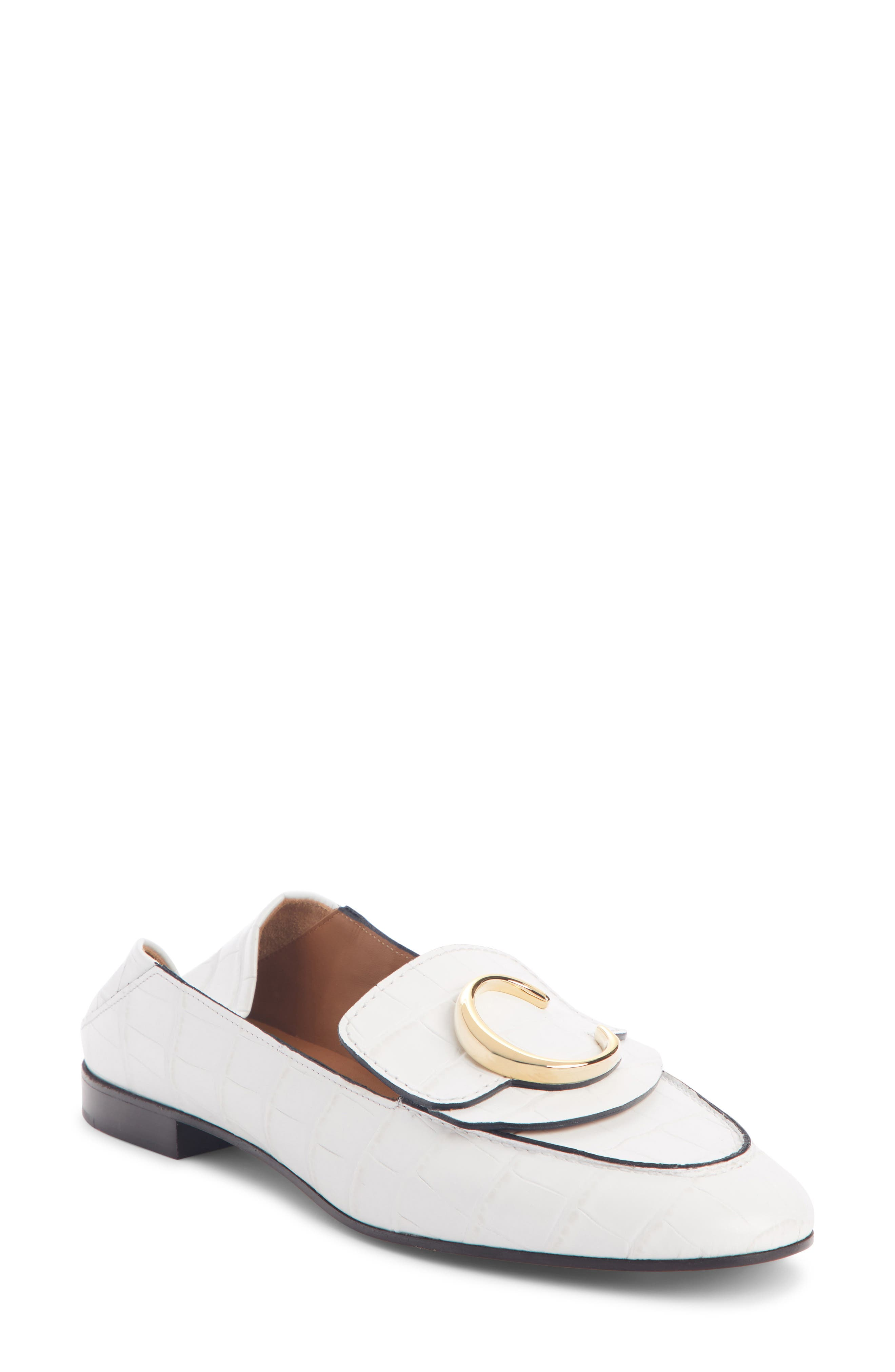 Chloe C Croc-Embossed Convertible Loafer - White