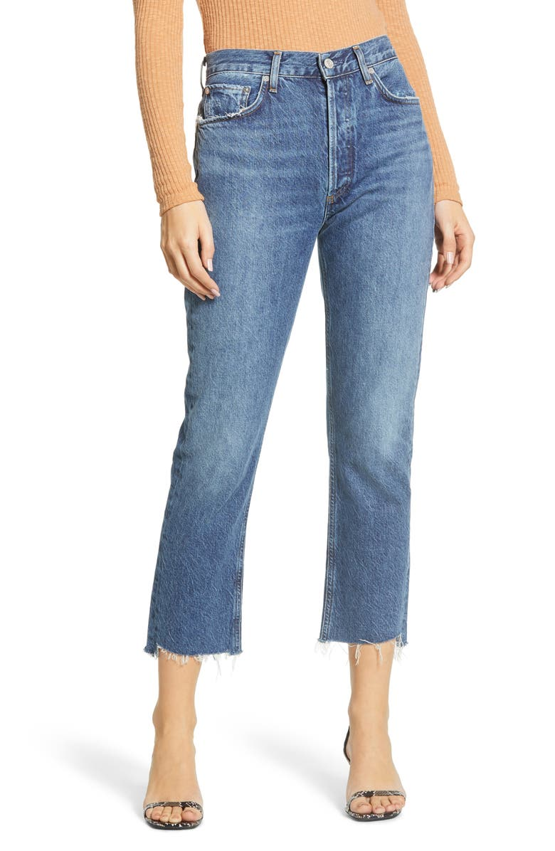 AGOLDE Riley High Waist Fray Hem Crop Straight Leg Jeans, Main, color, DISGUISE