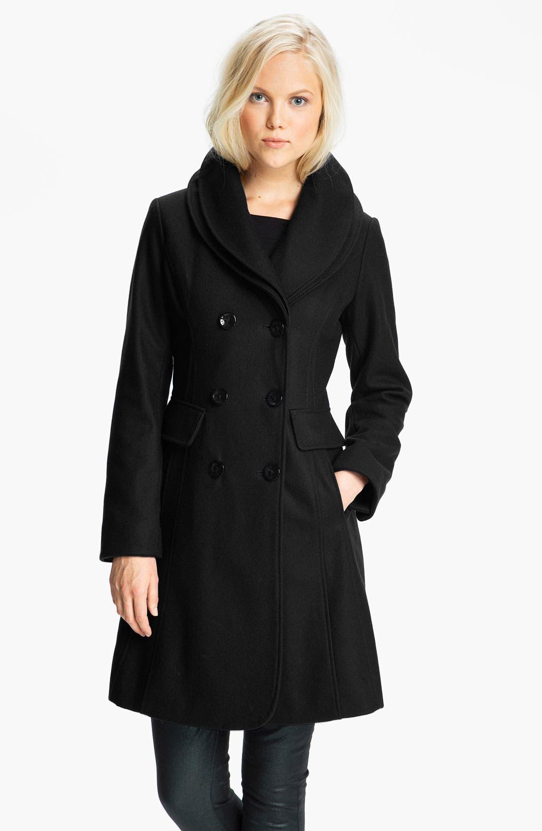 ,                             Double Collar Coat,                             Main thumbnail 1, color,                             001