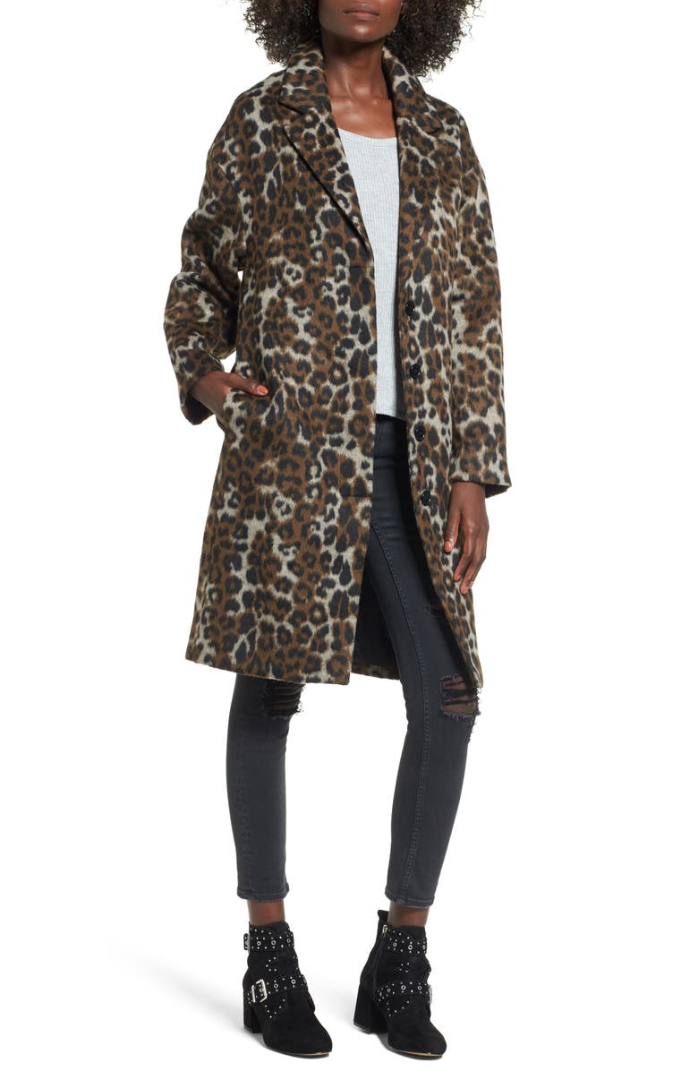 VIGOSS Oversize Leopard Print Topcoat, Main, color, 200