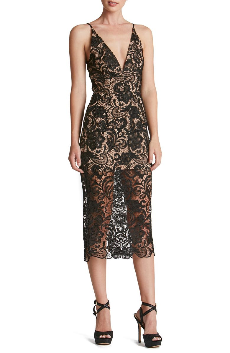DRESS THE POPULATION 'Marie' Lace Midi Dress, Main, color, 004